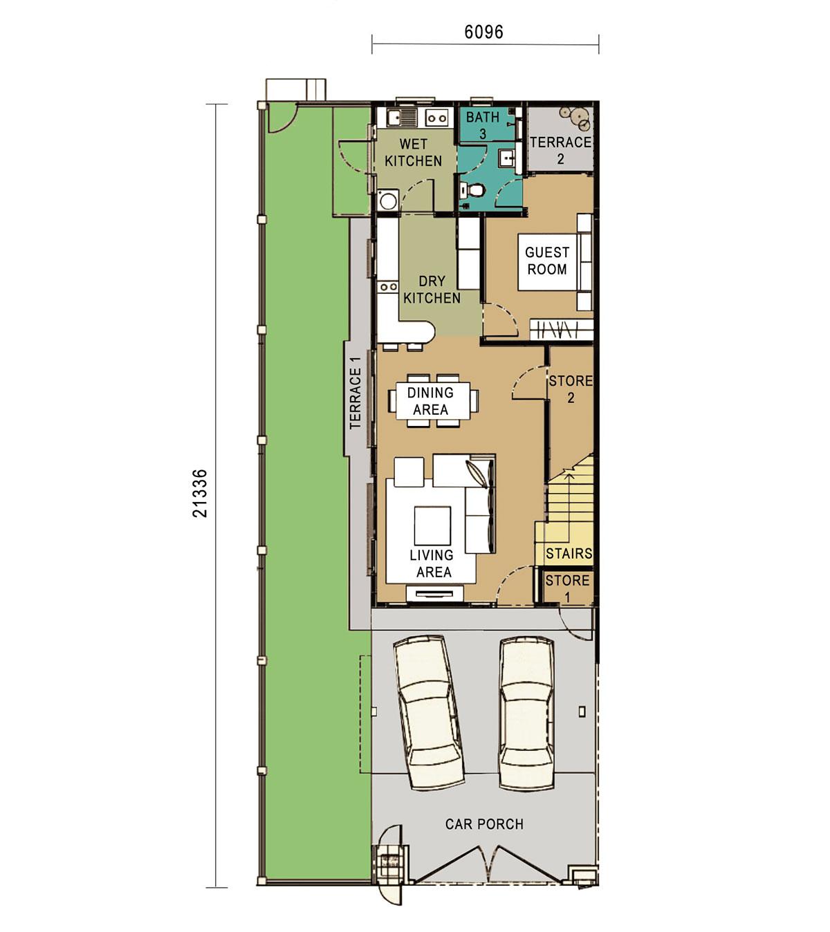2-Storey Link Home - End Unit -Ground Floor