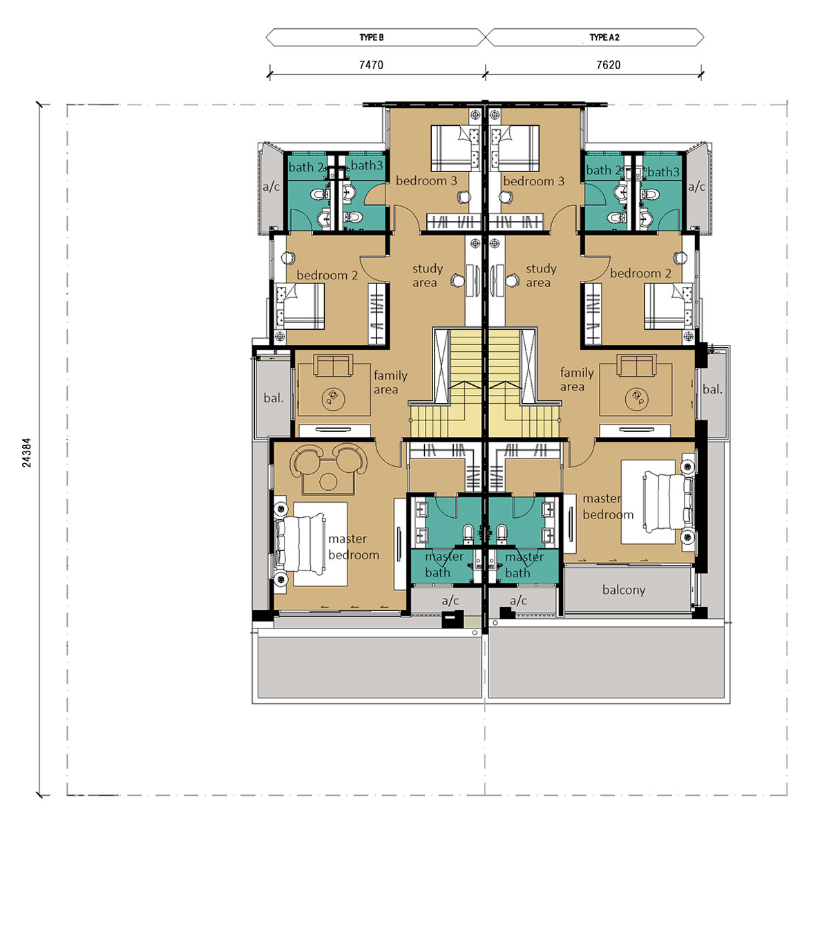 2 Storey - Cluster - Type A2 & B - First Floor